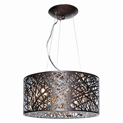 Bronze / Cognac Glass 7 Light 15.75in. Wide Pendant from the Inca Collection