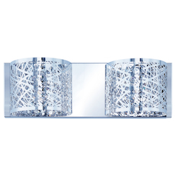 Polished Chrome Inca 4.25in. Wide 2-Bulb Bathroom Light Fixture