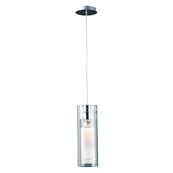 Polished Chrome 1 Light 6in. Wide Pendant from the Frost Collection