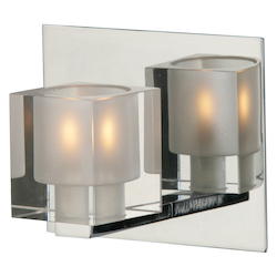 Chrome Single Light Up Lighting Wall Sconce from the Blocs Collection