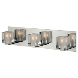 Chrome Blocs 19.5in. Wide 3-Bulb Bathroom Light Fixture