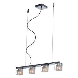 Chrome 4 Light 2.5in. Wide Chandelier from the Blocs Collection