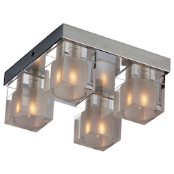 Chrome Blocs 4-Bulb Flush Mount Indoor Ceiling Fixture - Glass Shade Included