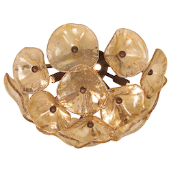 Amber Murano Cassini 8-Bulb Semi-Flush Mount Indoor Ceiling Fixture - Glass Shade Included