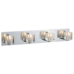 Chrome Four Light Up Lighting 27.5in. Wide Bathroom Fixture from the Blocs Collection