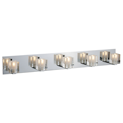 Chrome Blocs 35.5In. Wide 5-Bulb Bathroom Light Fixture