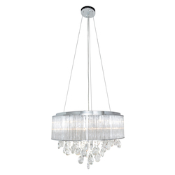 Polished Chrome / Clear Glass 10 Light 16.5in. Wide Pendant from the Gala Collection