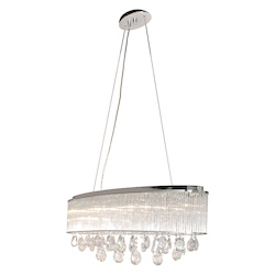 Polished Chrome / Clear Glass 7 Light 30.5in. Wide Pendant from the Gala Collection