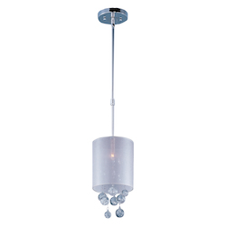 Polished Chrome / Silver Sheer Fabric 1 Light 7in. Wide Pendant from the Veil Collection