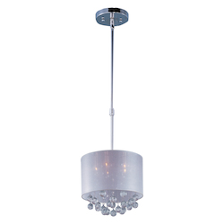 Polished Chrome / Silver Sheer Fabric 5 Light 15in. Wide Pendant from the Veil Collection