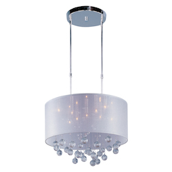 Polished Chrome / Silver Sheer Fabric 9 Light 21in. Wide Pendant from the Veil Collection