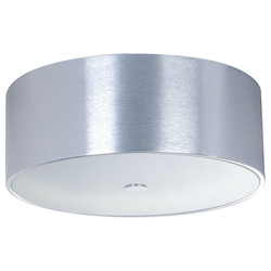 Brushed Aluminum Percussion 3-Bulb Flush Mount Indoor Ceiling Fixture - Acrylic Shade Included