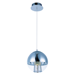 Polished Chrome / Mirror Chrome 1 Light LED 10in. Wide Pendant from the Reflex Collection