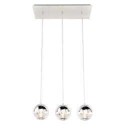 Polished Chrome / Mirror Chrome 3 Light LED 20in. Wide Pendant from the Reflex Collection