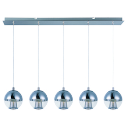 Polished Chrome Reflex 5 Light 1 Tier LED Linear Chandelier