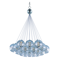 Polished Chrome / Mirror Chrome 19 Light LED 28.5in. Wide Pendant from the Reflex Collection