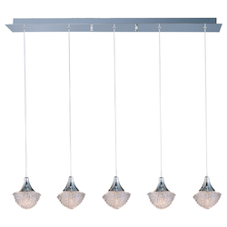 Polished Chrome / Crystal Glass 5 Light 33.5in. Wide Pendant from the Blossom Collection