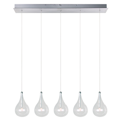 Polished Chrome 5 Light 5in. Wide Pendant from the Larmes Collection