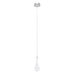 Polished Chrome / Clear Glass 1 Light LED 6in. Wide Pendant from the Larmes LED Collection