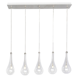 Polished Chrome / Clear Glass 5 Light LED 31.5in. Wide Pendant from the Larmes LED Collection