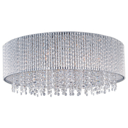 Polished Chrome Spiral 10-Bulb Flush Mount Indoor Ceiling Fixture - Crystal Shade Included