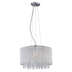 Polished Chrome 7 Light 16.75in. Wide Pendant from the Spiral Collection