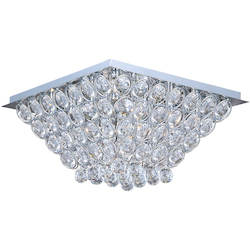 Polished Chrome Brilliant 16-Bulb Flush Mount Indoor Ceiling Fixture - Crystal Shade Included
