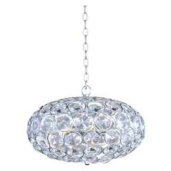 Polished Chrome 6 Light 16in. Wide Pendant from the Brilliant Collection