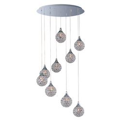 Polished Chrome / Crystal Glass 9 Light 21.75in. Wide Pendant from the Brilliant Collection
