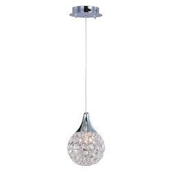 Polished Chrome / Crystal Glass 1 Light 5in. Wide Pendant from the Brilliant Collection