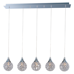 Polished Chrome / Crystal Glass 5 Light 33.75in. Wide Pendant from the Brilliant Collection