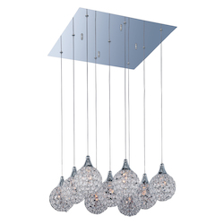 Polished Chrome / Crystal Glass 9 Light 18.75in. Wide Pendant from the Brilliant Collection