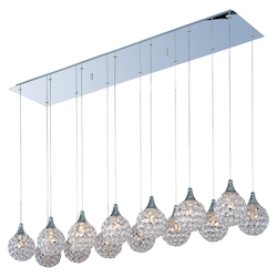 Polished Chrome / Crystal Glass 14 Light 47in. Wide Pendant from the Brilliant Collection