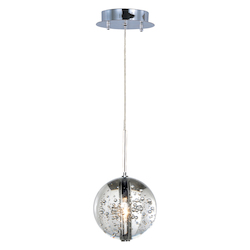 Polished Chrome / Bubble Glass 1 Light 4.5in. Wide Pendant from the Orb Collection