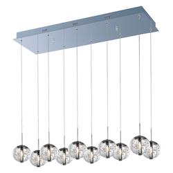 Polished Chrome / Bubble Glass 10 Light 33.75in. Wide Pendant from the Orb Collection