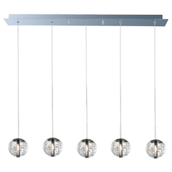Polished Chrome / Bubble Glass 5 Light 33.75in. Wide Pendant from the Orb Collection