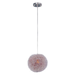 Brushed Aluminum 1 Light Adjustable Height Pendant With Red Metal Shade From The Clipp Collection