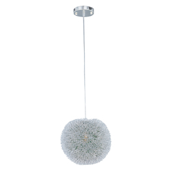 Brushed Aluminum 1 Light Adjustable Height Pendant With Green Metal Shade From The Clipp Collection