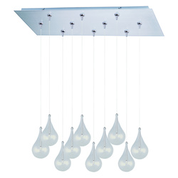 Satin Nickel 10 Light 12.5in. Wide Pendant from the Larmes Collection