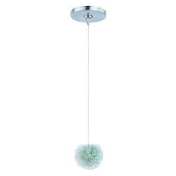 Brushed Aluminum 1 Light Adjustable Height Mini Pendant With Green Shade From The Minx Collection - Bulb Included