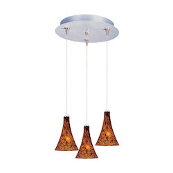 Satin Nickel / Amber Leopard Glass 3 Light 11.75in. Wide RapidJack Pendant and Canopy from the Leopard Collection