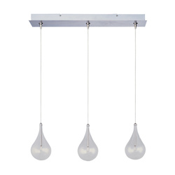 Satin Nickel 3 Light 4.5in. Wide Pendant from the Larmes Collection