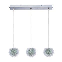 Brushed Aluminum 3 Light Adjustable Height Pendant With Green Shade From The Minx Collection - Bulbs Included