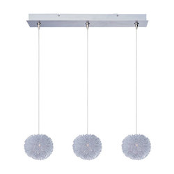 Brushed Aluminum 3 Light 5in. Wide Pendant from the Minx Collection
