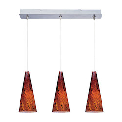 Satin Nickel / Amber Lava Glass 3 Light 24.25in. Wide RapidJack Pendant and Canopy from the Lava Collection
