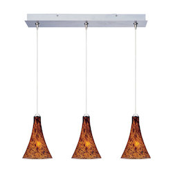 Satin Nickel / Amber Leopard Glass 3 Light 24.25in. Wide RapidJack Pendant and Canopy from the Leopard Collection