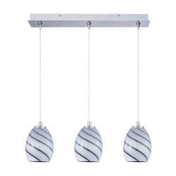 Satin Nickel / Grape Swirl Glass 3 Light 24.25in. Wide RapidJack Pendant and Canopy from the Swirl Collection