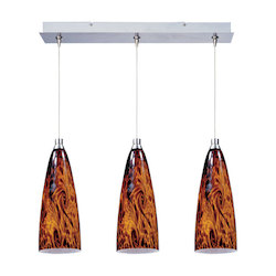 Satin Nickel / Amber Lava Glass 3 Light 24.25in. Wide RapidJack Pendant and Canopy from the Amber Lava Collection