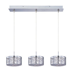 Polished Chrome 3 Light 24.25in. Wide RapidJack Pendant and Canopy from the Inca Collection