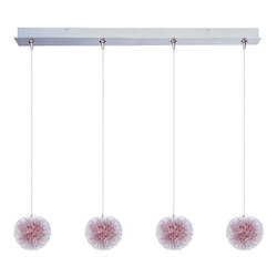 Brushed Aluminum 4 Light Adjustable Height Pendant With Red Shade From The Minx Collection - Bulbs Included